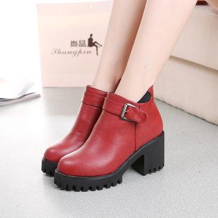 2016秋季新款欧美女鞋 内增高英伦马丁靴 坡跟短靴厚底女靴批发