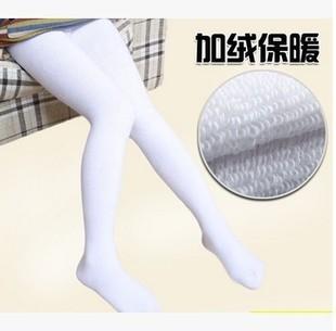 秋冬款儿童加厚加绒白色舞蹈袜中大童全棉毛圈加档连裤袜保暖打底