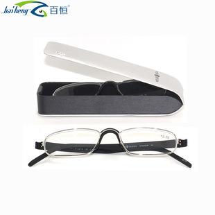百恒商务老视镜金属全框 TR90老花镜配手工镜盒
