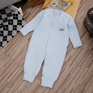 艾鹿比 新生婴儿装秋冬男女宝宝精梳棉保暖夹棉连体哈衣一件代发