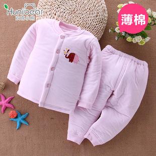 欢喜小熊 厂家直销儿童棉衣6-18个月冬季南极棉立领婴儿内衣套装