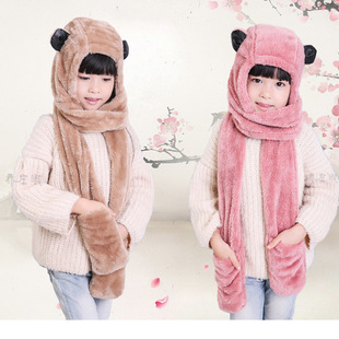 韩国亲子宝宝加绒秋冬季男女童保暖小孩儿童围巾帽子手套三件套装