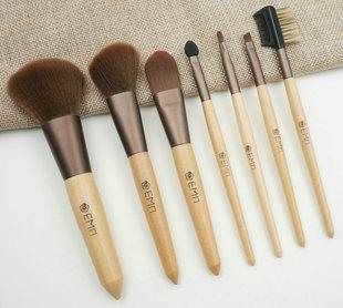 热销7支原木棕色管化妆刷套装 便携式优质羊毛美妆专用工具刷定制
