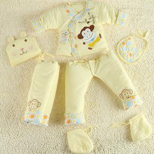 秋冬新款宝宝婴幼儿棉衣六件套新生儿外出和尚服童棉袄6件套热批