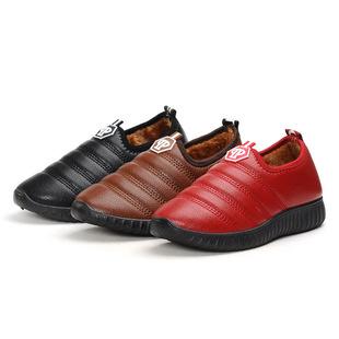 冬季皮面防水平底女棉鞋 韩版休闲加绒防滑女家居鞋 舒适透气鞋子