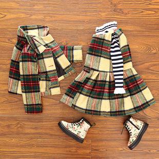 корейский 2016 девочек новые зимние шерстяные пальто, утолщение платье два костюм N38678 решетки