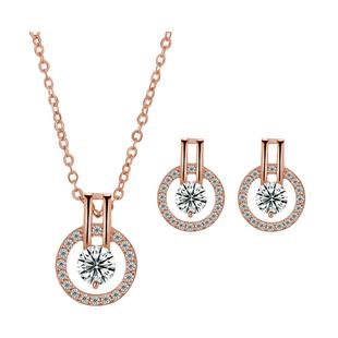 速卖通热卖 满钻星空项链耳环套装 简约锆石首饰套装 女款韩国风