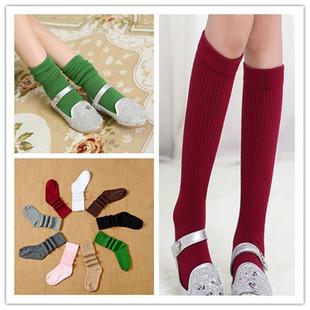 时尚新款韩版双针堆堆袜 精梳棉手工无骨缝头 儿童中筒袜子批发