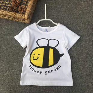 外贸童装  夏季男女童T恤 中小童纯棉短袖T恤 卡通小蜜蜂款
