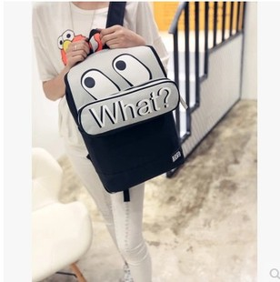 2016新款双肩包韩版撞色中学生书包简约休闲字母背包水杯包包
