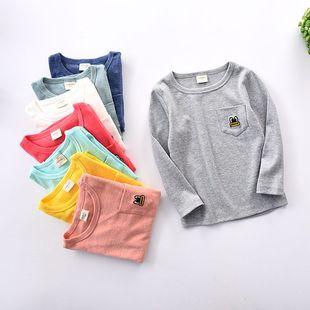 17春季新款 韩版童装 男女童眼睛刺绣t恤衫 儿童口袋打底衫批发