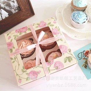 厂家直销cupcake复古玫瑰花杯子蛋糕盒马芬布丁小西点烘焙包装盒