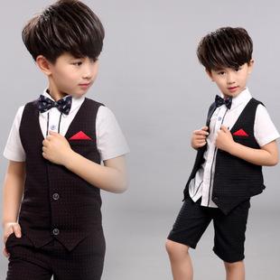 韩版夏季童装男童西式礼服套装夏装圆点儿童马甲短裤两件套Q618潮
