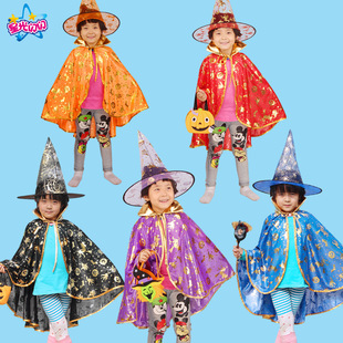 Шоу плащ детской одежды шоу детей маг дочь ведьма костюм плащ шапка тыква плащ