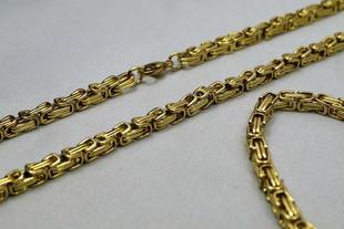 钛钢首饰批发金色U脚项链、手链套装金色、钢色 宽度5、6.5/8.5MM