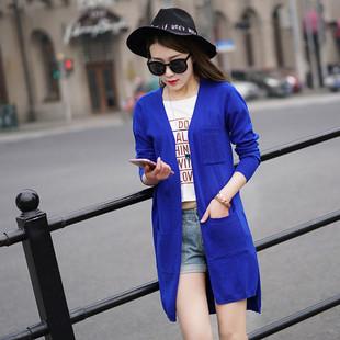 女式V领中长款羊绒衫开衫针织百搭羊毛衣羊毛衫风衣女装宽松带兜