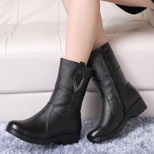 2017秋冬新款真皮短靴女中跟坡跟平底马丁靴防滑保暖舒适棉靴中靴