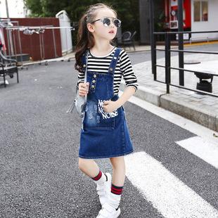 女童牛仔背带裙套装春秋装新款中大童女孩韩版儿童连衣裙春款童装