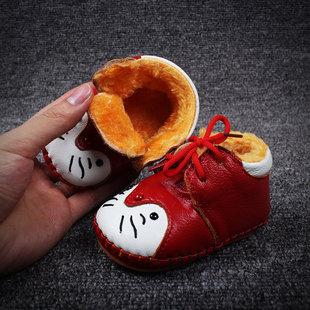 2016冬季新款宝宝真皮棉鞋婴儿学步鞋加绒系带款不掉鞋厂家直销