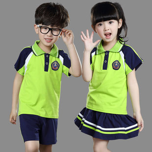 夏季纯棉校服T恤套装短袖幼儿园服批发定制广东厂家