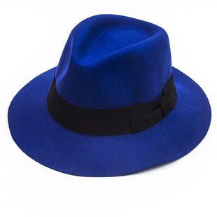 厂家直销韩版羊毛呢帽子大檐礼帽蓝色百搭蝴蝶结贴布帽子秋冬女