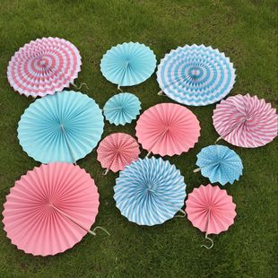 跨境货源6个一套单层圆形 手工纸扇花 家居婚庆 派对装饰品圆纸扇