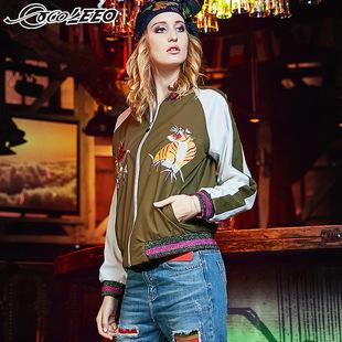 韩版潮流时尚女装2016秋季新款个性图标短款长袖夹克外套棒球服女