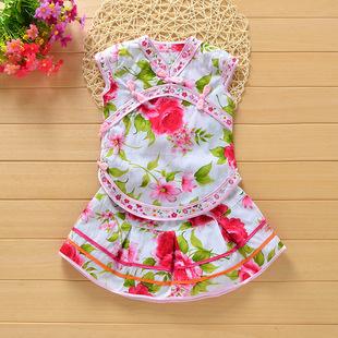 儿童唐装套装夏季女童旗袍短袖短裙两件套中式古装幼儿园演出礼服