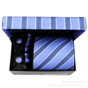 蓝色系列领带礼盒套装】涤丝条纹领带,配套口袋巾,领带夹,袖扣
