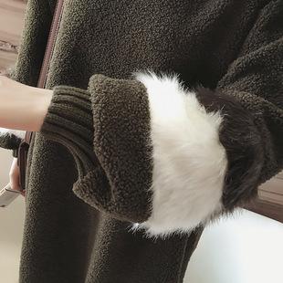 连衣裙秋冬女装新款2016韩版大码羊羔毛外套拼色灯笼袖卫衣
