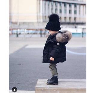 独家 16秋冬欧美新款儿童装羽绒服加厚 95白鸭绒大貉子毛领定制M