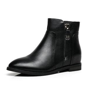 2017春秋新款双拉链真皮女靴平底内增高短靴低跟休闲头层牛皮单靴