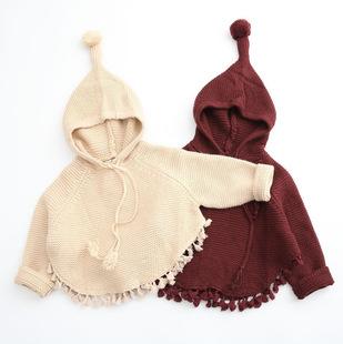 尤尤猫米 2016冬款新品 女童宝宝新款韩版百搭可爱两色毛衣带帽