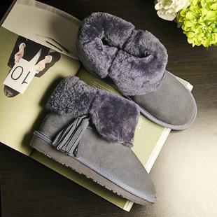 大小码羊皮毛一体女式中筒雪地靴 欧美风圆头低跟冬季套筒女鞋