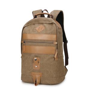2017新款双肩包男式户外登山旅行包手提帆布配皮背包批发一件代发