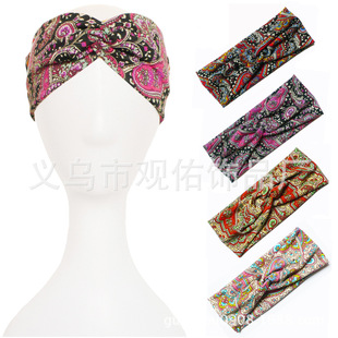 波西米亚棉印花韩国运动瑜伽交叉发带手工布艺风弹力头带头饰发饰