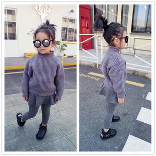尤尤猫米 2016冬款新品  长袖高领针织蝙蝠袖韩版毛衣 童毛衣