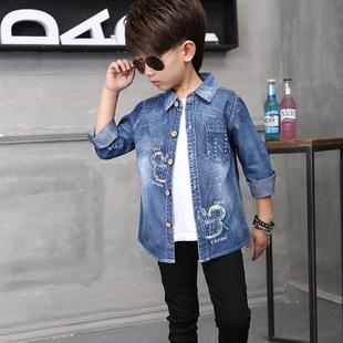 男童长袖牛仔衬衫童装2016新款春秋装 小中大童韩版儿童衬衣批发