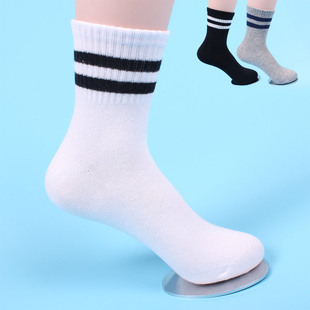 爆款儿童全棉两杠学生运动袜 亲子款男女童袜子 黑白条纹大童袜