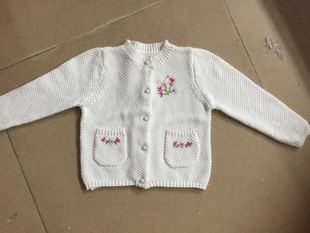 女童纯棉针织开衫 春秋女童花朵刺绣针织开衫 2016新款童针织衫
