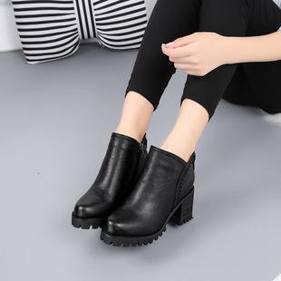 боковые молнии женские туфли новый кожаный короткие сапоги - мода сырой каблуки тепло плюс хлопка сапоги женские сапоги