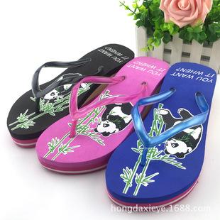 人字拖女凉拖鞋夏季坡跟松糕厚底夹角女士高跟防滑韩版沙滩鞋