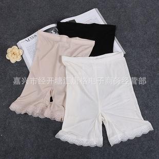 天然桑蚕丝针织真丝 螺纹织法三分打底裤 裙裤衬裤