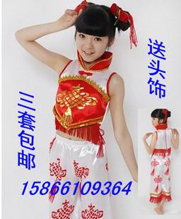 新款儿童舞蹈服装民族舞秧歌舞腰鼓舞中国结剪纸姑娘演出服表演服