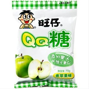 жвачка qq сахар аромат зеленого яблока 70g*10 пакет *6 / коробка
