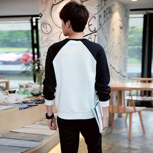 撞色圆领男士长袖套装韩版宽松型长裤 休闲百搭长袖拼接时尚套装