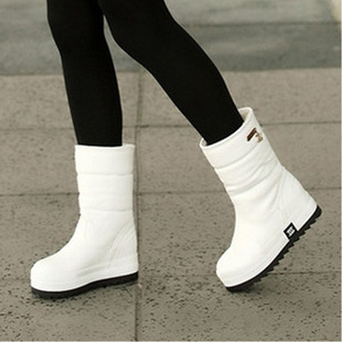 2017冬季新款防水防滑棉鞋厚底松糕短靴韩版白色中筒雪地靴女靴子