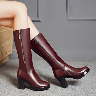 2016冬季新款真皮女靴时尚中跟马丁靴粗跟高筒女靴子舒适保暖棉靴