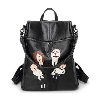 2017新款女包韩版软皮刺绣背包真皮双肩女士包包 一件代发