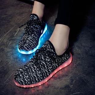 3D летать вязать тенденция случайный тапки LED лампа свет кокосового обувь мужчин обувь Обувь обувь выходе завода